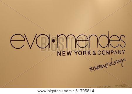 LOS ANGELES - MAR 18:  Eva Mendes & New York & Company Emblem at the Eva Mendes for NY&C Launch at Eva Mendes for NY&C Pop Up Store on March 18, 2014 in Los Angeles, CA