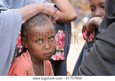 Sad African Children. Hunger Refugee Camp