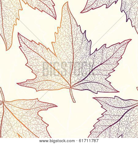 Colored art vector autumn maple leaves seamless pattern.  Fabric texture.