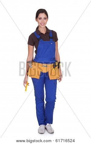 Female Construction Worker With Toolbelt