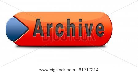 archive big digital data storage or personal or website archiving button or icon