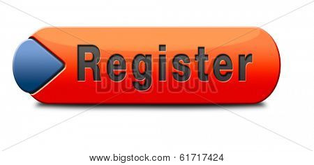 register here en no sign or icon. Membership registration button or sticker.
