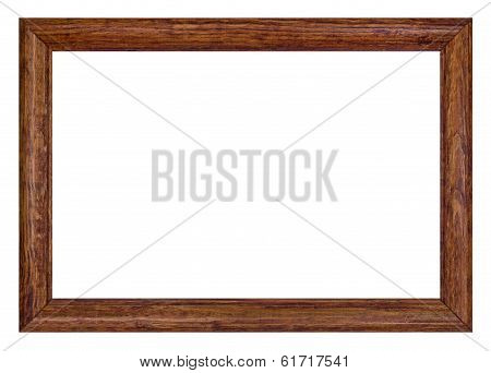 Wooden Picture Frame, Isolated On White Background, With Clipping Path