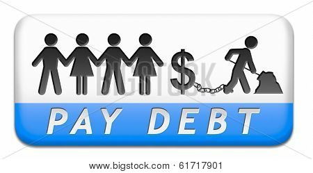debt paying credit bank loan buy with credits making debts button or icon