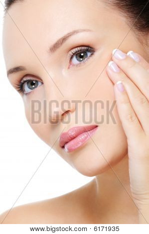 Beauty Woman Showing Aging Process Of Skin