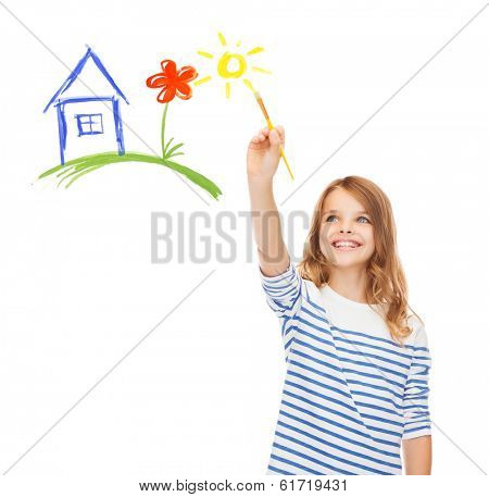 education, school and imaginary screen concept - cute little girl drawing house with brush