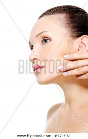 Beauty Woman Stroking Her Clean Purity Skin Of Face