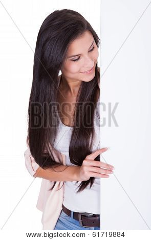 Stylish Trendy Woman With Blank Sign