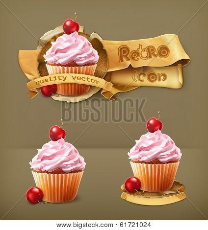 Cherry cupcake, retro vector icon