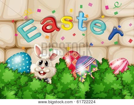 Illustration of a bunny hiding with Easter eggs