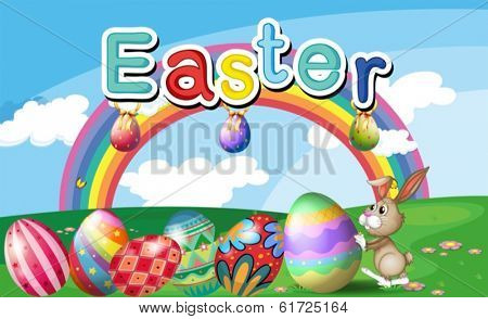 Illustration of a hilltop with Easter eggs, a rainbow and a bunny