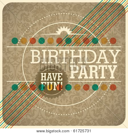 Vintage birthday invitation card. Vector illustration.