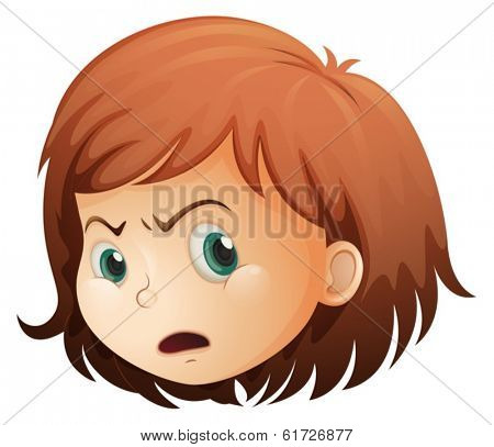 Illustration of a head of an angry child on a white background