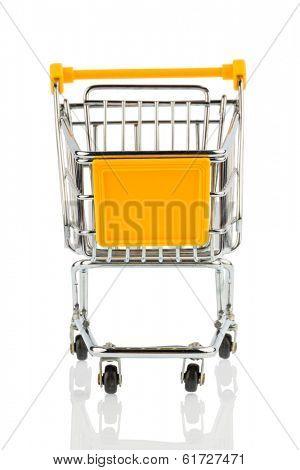 an empty shopping cart on white background. symbolic photo for shopping