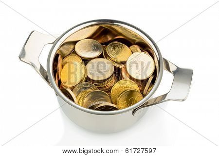a cooking pot, half filled with euro coins, symbolic photo for sovereign debt and financial needs
