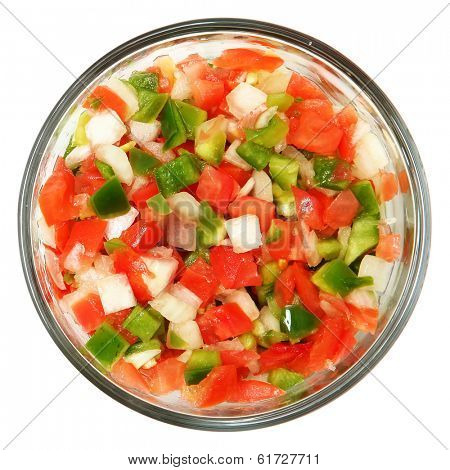 Trinity of chopped Tomato, Bell Pepper, Onions over white.
