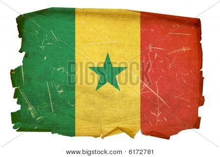Senegal Flag Old, Isolated On White Background.