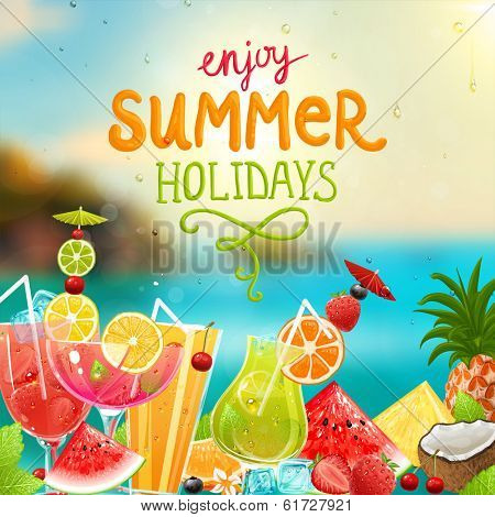 Summer holidays vector illustration set with cocktails, palms, sun, sky, sea, fruits and berries.