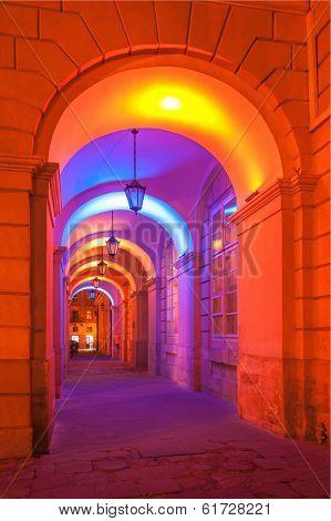 Lviv city night landscape. Ukraine