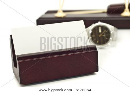 Card Holder With Blank White Business Card, Watch And Pens