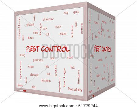 Pest Control Word Cloud Concept On A 3D Cube Whiteboard