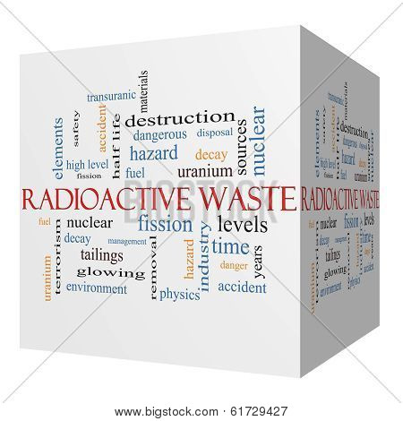 Radioactive Waste 3D Cube Word Cloud Concept