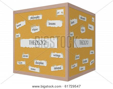 Theology 3D Cube Corkboard Word Concept