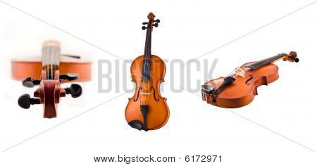 Collage Of Antique Violin Views Isolated