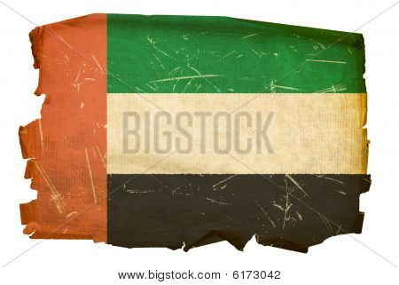 United Arab Emirates Flag Old, Isolated On White Background.