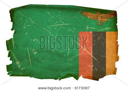 Zambia Flag Old, Isolated On White Background.
