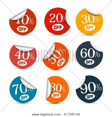 Colorful Vector Discount Stickers, Labels Illustration Set