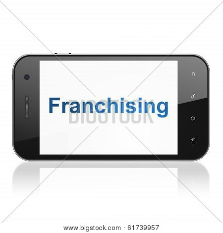 Business concept: Franchising on smartphone