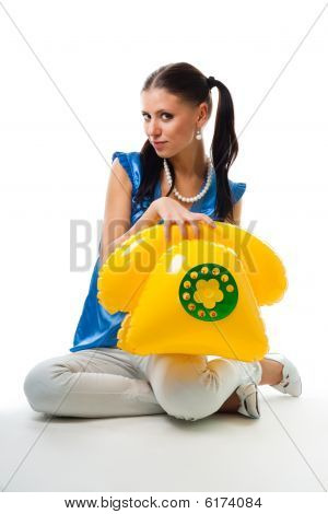 Young Woman Call By Phone