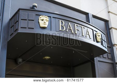 LONDON, UK - MARCH 01: Detail of BAFTA entrance in Piccadilly. The institution awards and supports film, television and video games industry achievements. March 01, 2014 in London.