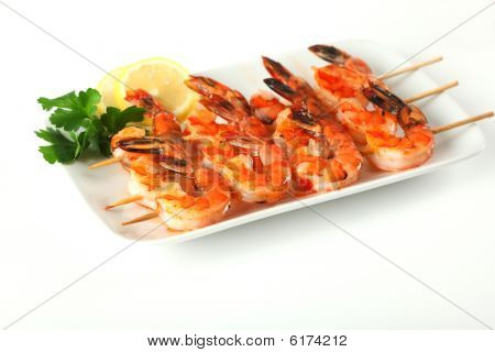 Shrimp Skewers With Sweet Garlic Chili Sauce On Isolated Background