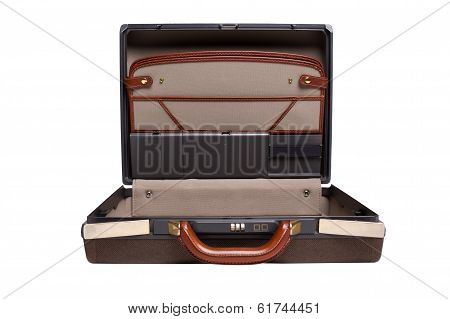 Opened Brown Leather Briefcase Isolated On White Background