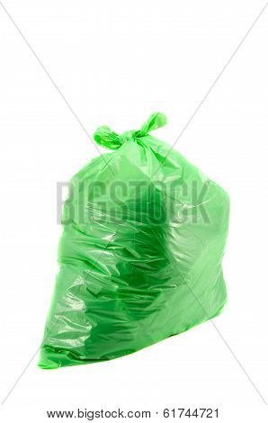 Isolated Full Green Garbage Plastic Bag In White Background
