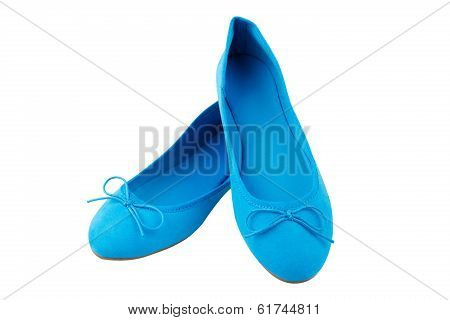 Womens Blue Suede Shoes, Isolated On White