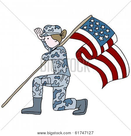 An image of a female soldier saluting while kneeling and holding the American flag.