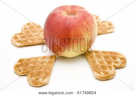 Fresh Red Appe with Baked Waffles