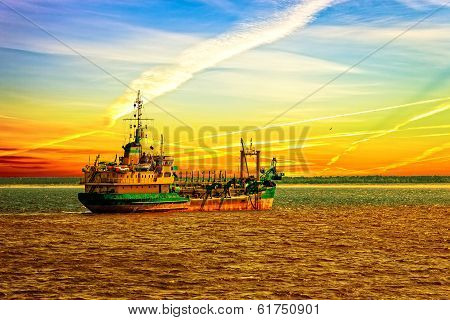 Dredger Ship In Port