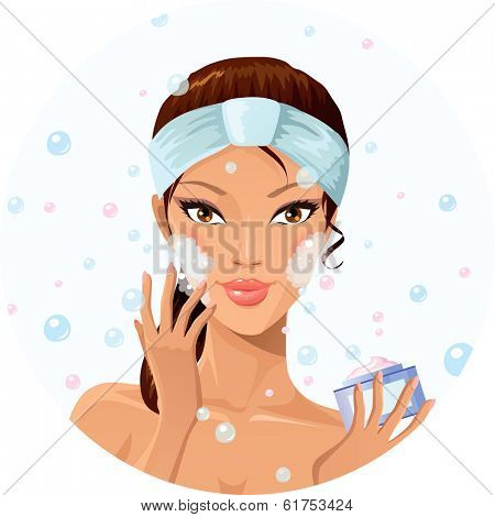 Beautiful woman washing her face