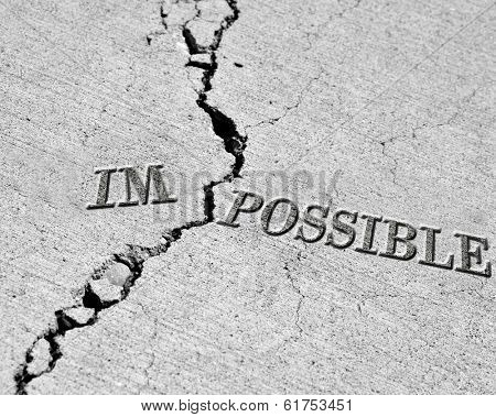 Turning impossible into the possible cracked cement symbol