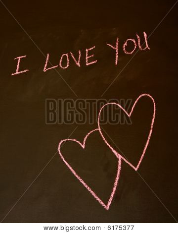 I Love You   written in pink chalk