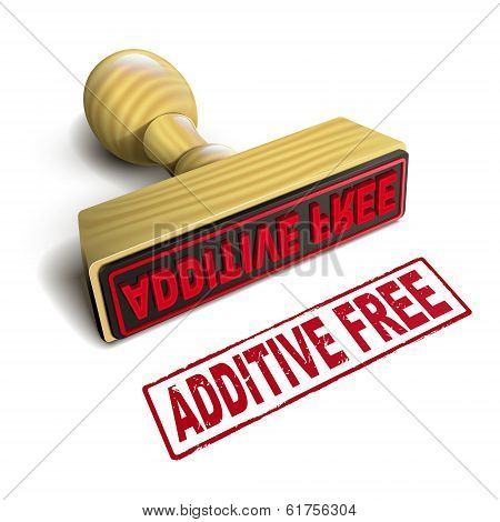 Stamp Additive Free With Red Text On White