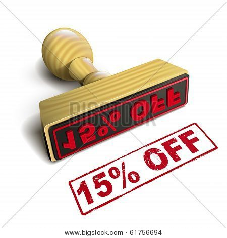 Stamp 15% Off With Red Text On White