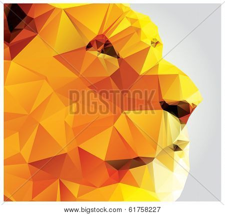 Geometric polygon lion head, profile, triangle pattern, vector illustration