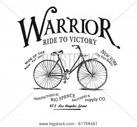 vintage bicycle illustration with type