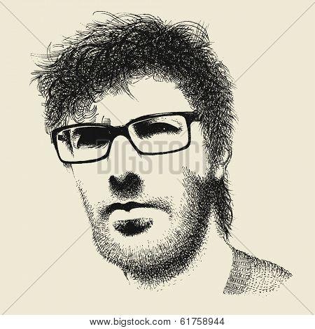 Unshaven hipster man hand drawn portrait, vector
