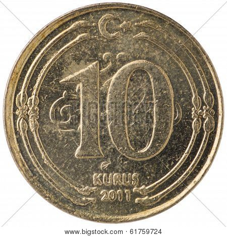 10 Turkish Kurus Coin, 2011, Back
